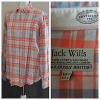 Jack Wills Ladies Boyfriend Fit Shirt Checked UK 10 Cotton