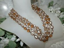 Flashy Miriam Haskell 4 Strand Baroque Pearl & Crystal Necklace