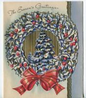 VINTAGE CHRISTMAS MID CENTURY ART NOUVEAU BLUE GOLD TREE WREATH GREETING CARD