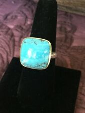 Thailand SX sterling silver & cushion shaped blue turquoise cabochon ring, sz 8