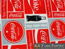"Polar Fleece Fabric Print COCA COLA BOXED 60"" Wide Sold by the yard S-622"