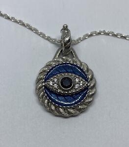 """Judith Ripka 925 Sterling Silver CZ & Blue Enamel Evil Eye Enhancer Pendant 18"""""""