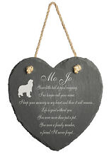 Personalised Engraved Slate Stone Heart Pet Memorial Grave Marker Plaque Dog J