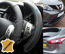 Für Nissan Qashqai Xtrail 100% Schwarz Leder & Leder Optik Lenkrad Abdeckung