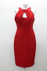 KAREN MILLEN Ladies Red Pleated Keyhole Neck Sleeveless Midi Dress UK14 NEW