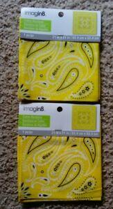 "2 - Yellow Paisley Bandana's Face Mask Scarf, Wrap 21x21"""