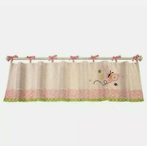NoJo BUTTERFLY LOVE Pink Embroidered Window Valance Tie Top Floral Cottage Girl