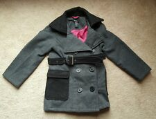 Kid's Girls♡♡♡ Gray Belted Double Breasted Short Trench Coat Dress Jacket Size 4