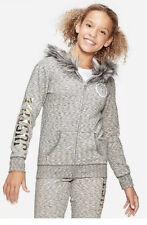 Justice Logo Faux Fur Trim Zip up Hoodie Size 10 Gray