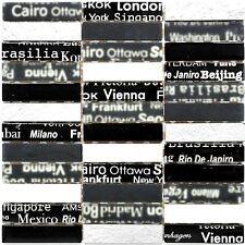 Mosaico vetro nero/argento mix di colori font design per muro: 87-39_b |1 foglio