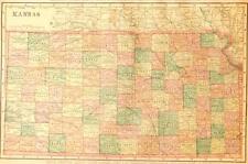 Beautiful Original 1899 Kansas Large Color Map/10x14