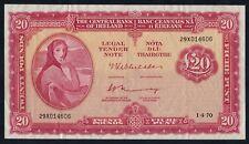 20 Pounds Irish Ireland Lavery Series A Banknote 1.4.70 29X014606