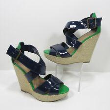Xhilaration Size 8 Seahawks Patent Leather Green Blue Wide Strap Peep Toe Wedges