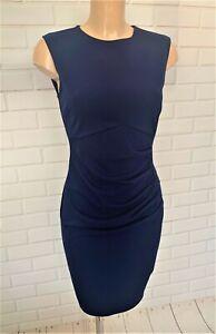 BEAUTIFUL DARK BLUE RUCH FEATURE FIGURE HUGGING DRESS SIZE 10-18