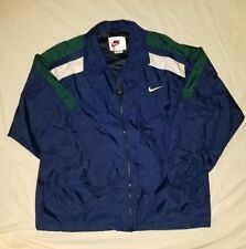 1512d9aae8ee NIKE spellout Vintage Blue Packable Zip Windbreaker Jacket Men s Large