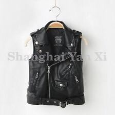 Kids Boys Girl Leather Biker Vest Waistcoat Sleeveless Motorcycle Jacket Outwear
