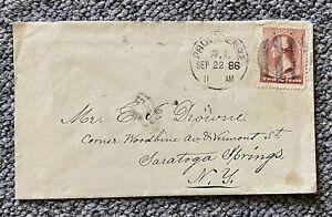 1886 2c Fancy Cancel Providence RI to Saratoga Springs NY