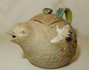 Vintage Small Japanese Banko Ware Enamelled Bisque Quail Teapot