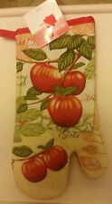 "Fabric Printed 13"" Jumbo Oven Mitt, GALA APPLES with red back by KT"