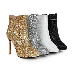 Ladies Bling Shoes Synthetic Leather High Heels Zip Up Ankle Boots AU Size b088
