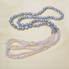 458d462d6 white Gray Baroque Freshwater Pearls Irregularly Sweater Chain Long Necklace