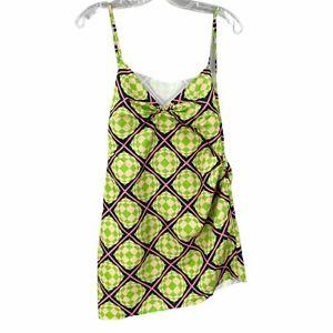 MAISIE WILEN Party Girl Asymmetric Print Crepe Mini Dress Green Pink L NEW $915