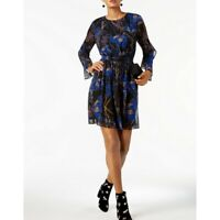 INC NEW Women's Black And Navy Floral Print Cocktail Fit & Flare Dress TEDO