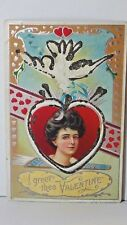 I GREET THEE VALENTINE Vintage BS#S316 USA 1913 Post Card Glitter-Hearts-Woman