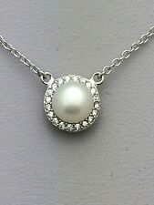 .925 Sterling Silver 6 mm White Pearl Halo Pendant Necklace - June Birthstone
