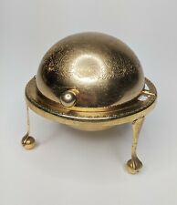 Vintage Globe Dome Shaped Roll Top Caviar Butter Dish Made In England Gold Brass