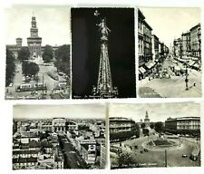 Milano Italy RPPC Lot of 5 Postcards Circa 1940 Unposted B&W 5.5 x 4 Inches