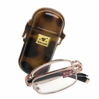 1PC Mini Foldable Reading Glasses Metal Full Frame Case Eyeglass +1.00 to +4.00
