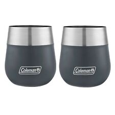 Coleman Claret Insulated Wine Glass 13oz Slate Blue Stainless Steel Cup (2-Pack)