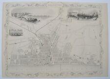 Brighton: antique city plan by Tallis & Rapkin, c1851