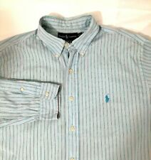 Ralph Lauren Classic Fit Baby Blue Stripe Long Sleeve Shirt Size 17 34/35