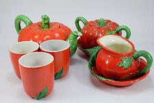 Vintage Maruhon Ware Japan Teapot Set Sugar & Creamer and 3 cups Tomato theme