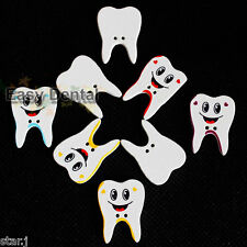 100pcs Sewing Button art crafts Wooden Dental Tooth Shape Smile Face Cute Gift