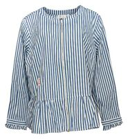 Denim & Co. Women's Plus Sz 1X Yarn Dyed Striped Peplum Jacket Blue A351550