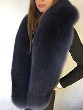 Blue Fox Fur Stole Saga Furs Collar Dark Blue 70' (180cm)