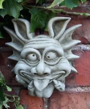 STONE GARDEN CHEEKY UGLY TONGUE OUT GARGOYLE GOBLIN WALL PLAQUE HANGING