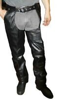 Men's Black Advanced Dual Comfort Leather Chaps With Mesh Lining  Style 908