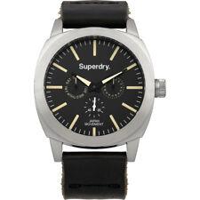 Superdry SYG104B - Reloj analógico de cuarzo de hombre con correa de piel negra