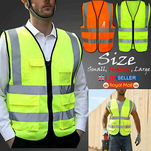 Safety Hi Vis Viz Reflective Work Visibility Vest Waistcoat Jacket Orange Yellow