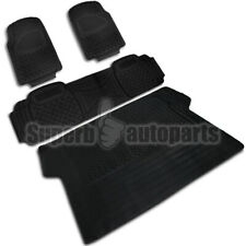 2 Front+1 Rear+1 Cargo Weather Custom Heavy Duty Rubber Floor Mats 4Pc Black (Fits: Isuzu Trooper)
