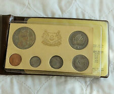SINGAPORE 1975 6 COIN UNCIRCULATED SET LUNAR YEAR OF THE RABBIT- brown wallet