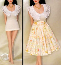 """1:6 Lace T-Shirt & Long Flower Skirt Clothes Accessory Set PL61  F 12"""" Girl Doll"""