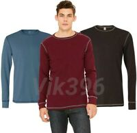 New Men's Thermal Long Sleeve Contrast Stitching  T-shirt Brown,Blue,Maroon Tee