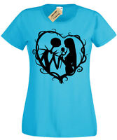 Jack and Sally T-Shirt Womens Nightmare Gothic Ladies Christmas Halloween Top