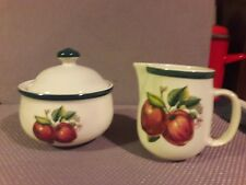 Apple CASUALS By CHINA PEARL: Sugar bowl w/lid and creamer