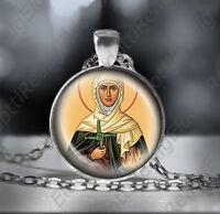 St. Brigid of Ireland Catholic Necklace - Patron Saint Pendant Christian Medal